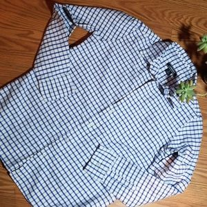 Boys lands end button up dress and size lg